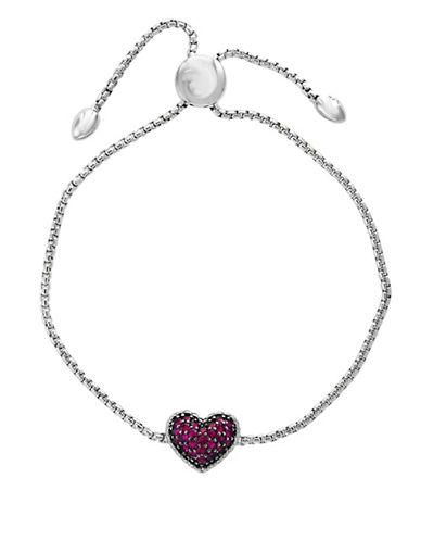 Effy Sterling Silver Ruby Heart Bracelet-RED-One Size