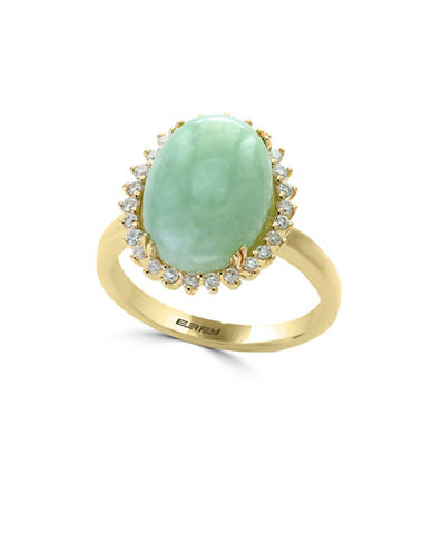 Effy 0.25 TCW Diamond, Jade and 14K Yellow Gold Ring-GREEN-7