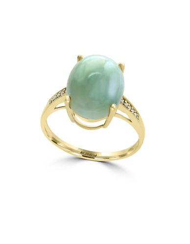 Effy 0.04 TCW Diamond, Jade and 14K Yellow Gold Ring-GREEN-7