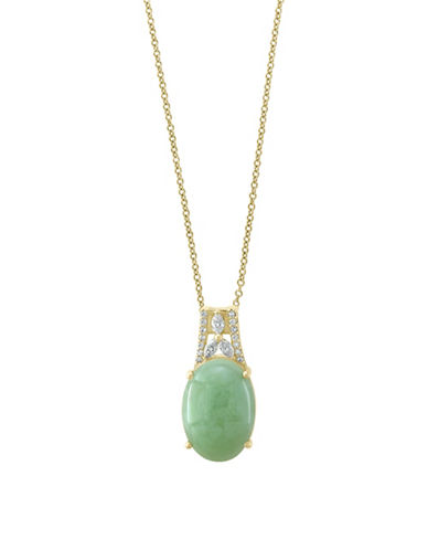 Effy 14K Yellow Gold Diamond And Jade Pendant-GREEN-One Size