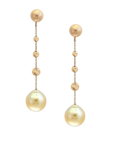 Effy 9-10MM South Sea Pearl and 14K Yellow Gold Drop Earrings-WHITE-One Size