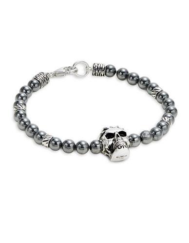 Effy Sterling Silver and Hematite Skull Bracelet-BLACK-One Size