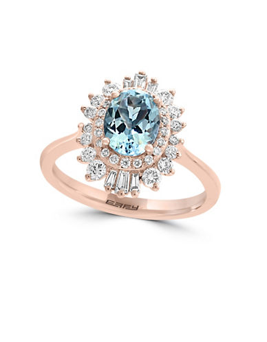 Effy 14K Rose Gold Diamond And Aquamarine Ring-AQUA-7