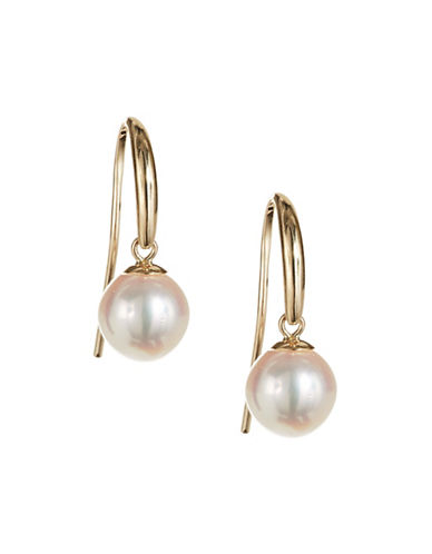 Effy 6.35MM Akoya Pearl and 14K Yellow Gold Earrings-WHITE-One Size