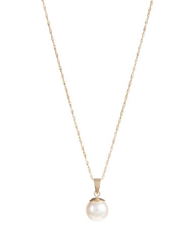 Effy 6.35MM Akoya Pearl and 14K Yellow Gold Pendant Necklace-WHITE-One Size