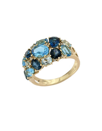 Effy 14K Yellow Gold Diamond and Blue Topaz Ring-TOPAZ-7