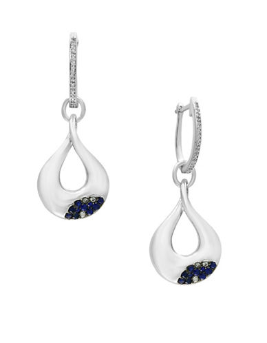 Effy 0.13 TCW Diamonds, Sapphire and Sterling Silver Drop Earrings-SAPPHIRE-One Size