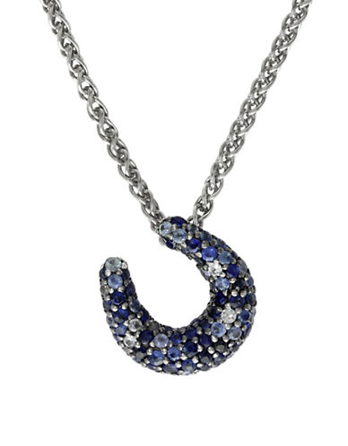 Effy Sapphire, Sterling Silver Horseshoe Pendant Necklace-BLUE-One Size