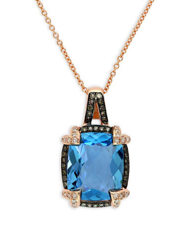Effy 14K Rose Gold, Blue Topaz Framed Pendant with Two-Tone 0.25TCW Diamond Necklace-BLUE-One Size