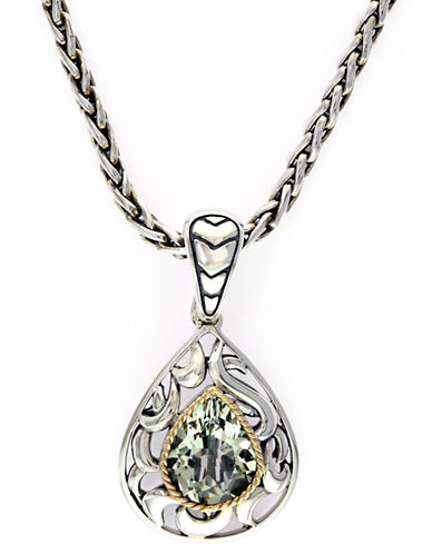 Effy 18k Yellow Gold and Silver Green Amethyst Pendant-AMETHYST-One Size