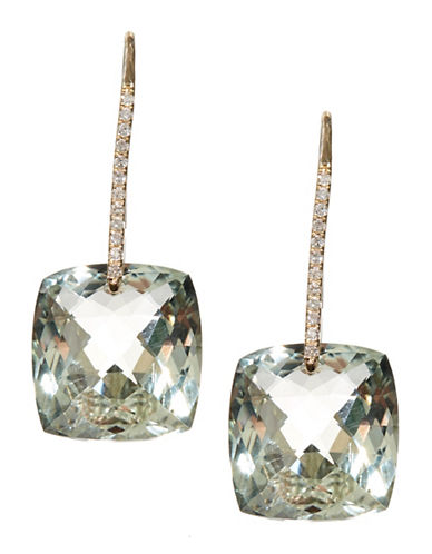 Effy 14K Yellow Gold Diamond And Green Amethyst Earrings-GREEN-One Size