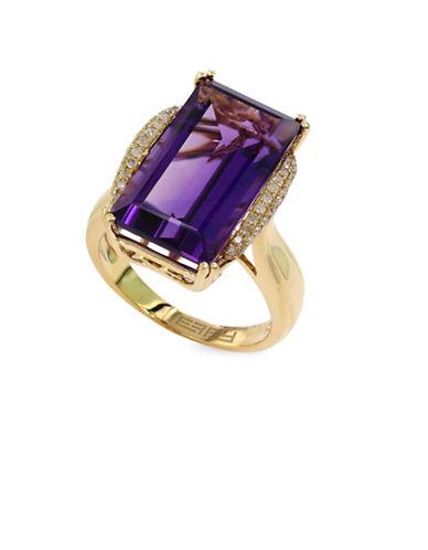 Effy 14K Yellow Gold Amethyst Ring with 0.16 TCW Diamonds-AMETHYST-7