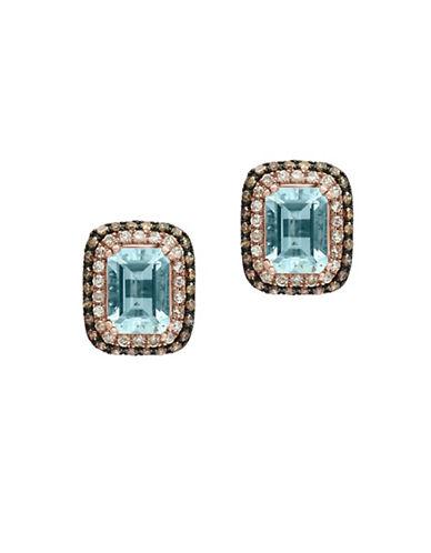 Effy Aquamarine, 0.45 TCW Brown and White Diamonds 14K Rose Gold Stud Earrings-AQUAMARINE-One Size