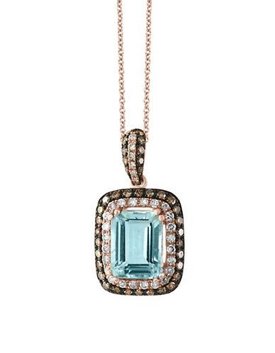 Effy Aquamarine, 0.32 TCW Brown and White Diamonds 14K Rose Gold Square Pendant Necklace-AQUAMARINE-One Size