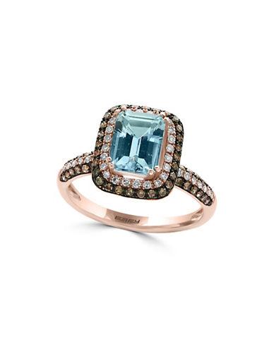 Effy Aquamarine, 0.52 TCW Brown and White Diamonds 14K Rose Gold Ring-AQUAMARINE-7
