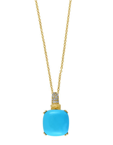 Effy Gemma Turquoise, 0.07 Total Carat Weight Diamond with 14K Gold Pendant-TURQUOISE-One Size