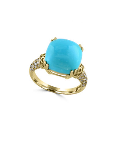 Effy Gemma Turquoise, 0.22 Total Carat Weight Diamond with 14K Gold Ring-TURQUOISE-7