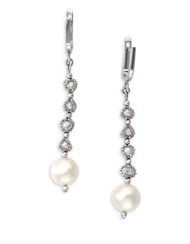 Effy 3.5 MM-9.5 MM Cultured Freshwater Pearls and 0.925 Sterling Silver Linear Earrings-PEARL-One Size