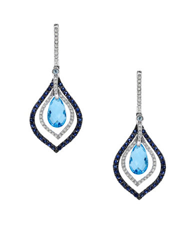 Effy Blue Topaz Sapphire and 14K White Gold Drop Earrings with 0.34TCW Diamonds-BLUE TOPAZ-One Size