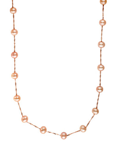 Effy 5mm Pink Round Fresh Water Pearl 14K Rose-Gold Station Necklace-ROSE GOLD-One Size