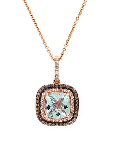 Effy 14k Rose Gold White And Espresso Diamond and Aquamarine Pendant-MULTI-COLOURED-One Size