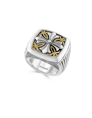 Effy 925 Brass and Sterling Silver Emblem Ring-SILVER-7