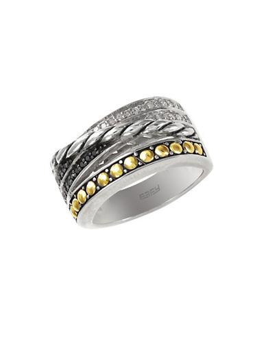 Effy 18k Yellow Gold and Silver Diamond and Black Diamond Ring-DIAMOND-7