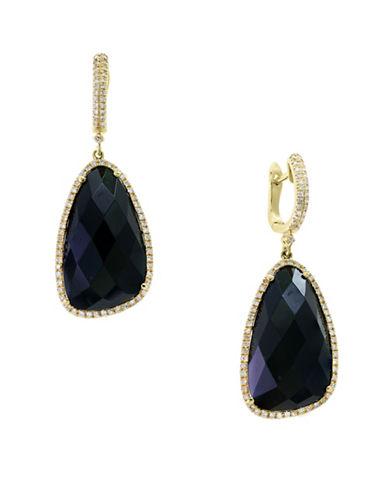 Effy 14K Yellow Gold Onyx and 0.2TCW Diamond Teardrop Ring-ONYX-One Size