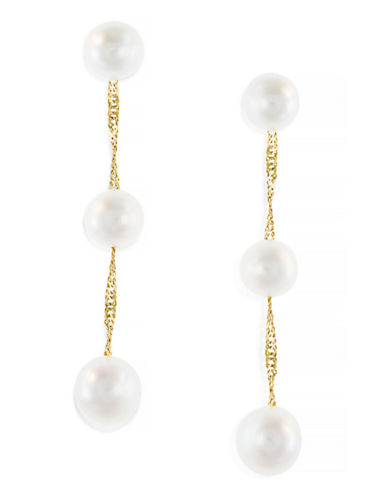 Effy 14K Yellow Gold Freshwater Pearl Earrings-PEARL-One Size