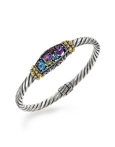 Effy 18K Yellow Gold and Sterling Silver Multi-Sapphire Bracelet-MULTI COLOURED-One Size