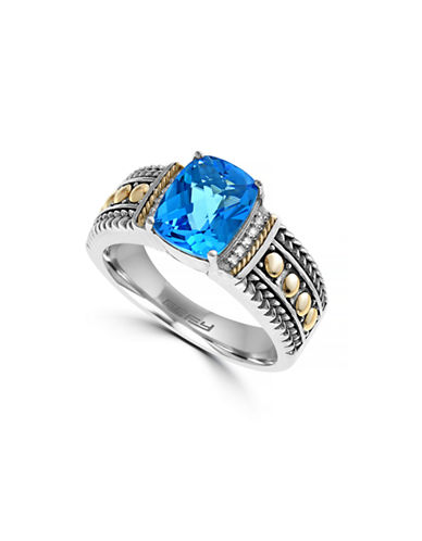 Effy 18K Yellow Gold-Silver 0.04ct Diamond and 2.38ct Blue Topaz Ring-BLUE-7