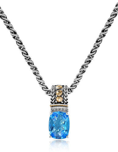 Effy 18K Yellow Gold-Silver 0.02ct. Diamond and 2.28ct. Blue Topaz Pendant-BLUE-One Size