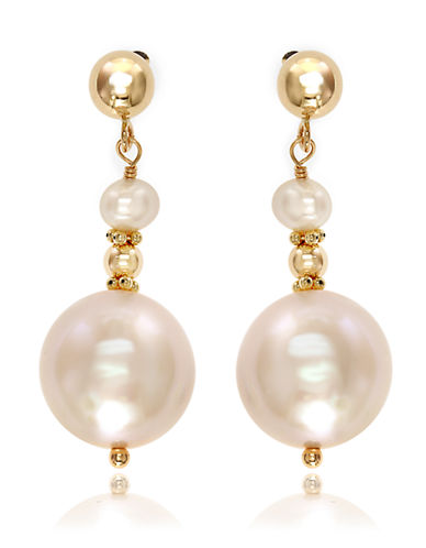 Effy 14K Yellow Gold 3.5mm and 10.55mm Freshwater Pearl Earrings-PEARL-One Size