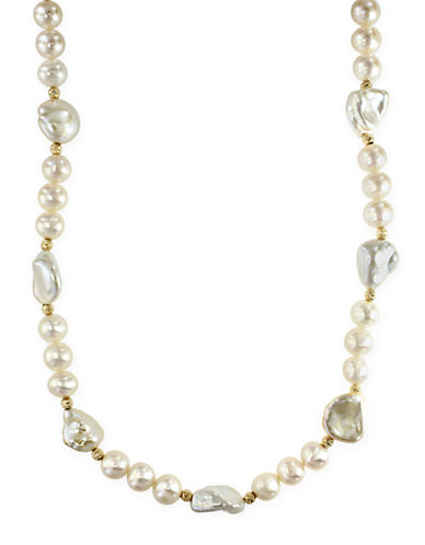 Effy 14K Yellow Gold 7-10mm Freshwater Pearl Necklace-PEARL-One Size