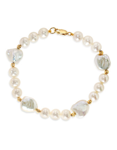 Effy 14K Yellow Gold 7mm and 10mm Freshwater Pearl Tennis Bracelet-PEARL-One Size