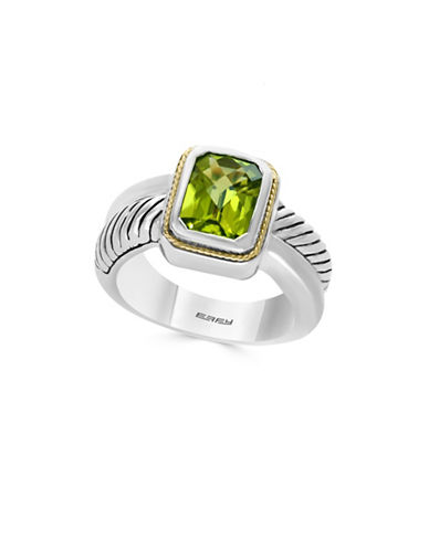 Effy 925 Sterling Silver 18K Yellow Gold Peridot Ring-GREEN-7