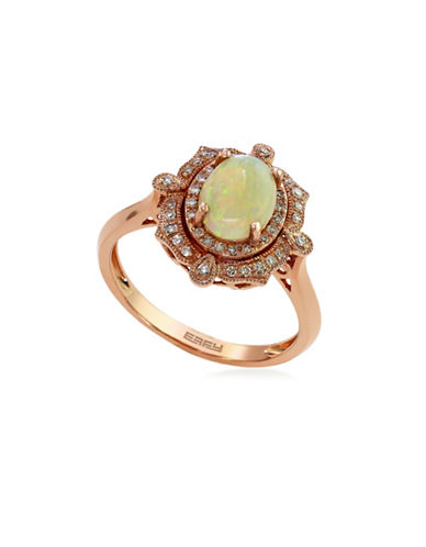 Effy 14K Rose Gold Opal Ring with 0.15 TCW Diamonds-OPAL-7