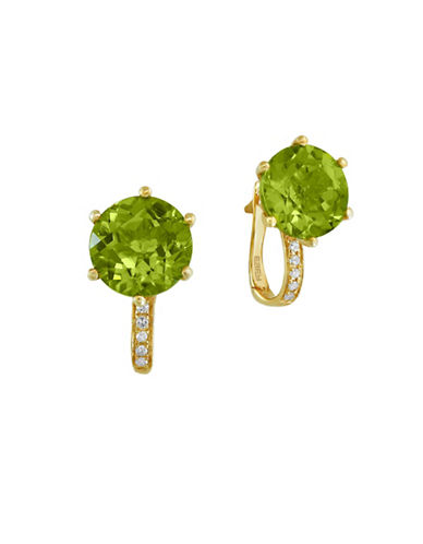 Effy Peridot, 0.05 TCW Diamond, 14K Yellow Gold Earrings-GREEN-One Size