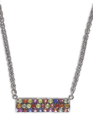 Effy Sapphire, Sterling Silver Embellished Bar Pendant Necklace-MULTI-One Size