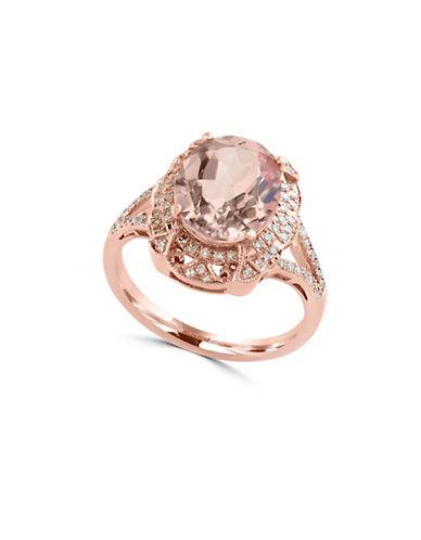 Effy 14K Rose Gold Morganite Ring with 0.24 TCW Diamonds-ROSE GOLD-7