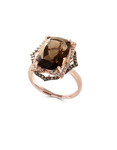 Effy 14K Rose Gold Smoky Quartz 0.31TCW Diamond and Brown Diamond Ring-BROWN-7