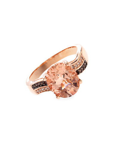 Effy 14K Rose Gold, Morganite with Two-Tone 0.08TCW Diamond Wave Ring-GREY-7
