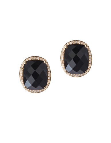 Effy Onyx, Diamond and 14K Yellow Gold Earrings-BLACK-One Size