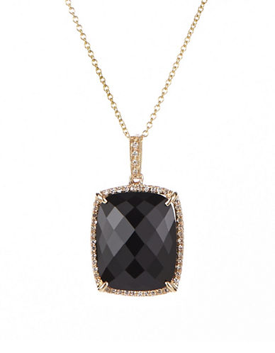 Effy Onyx, Diamond and 14K Yellow Gold Pendant Necklace-BLACK-One Size