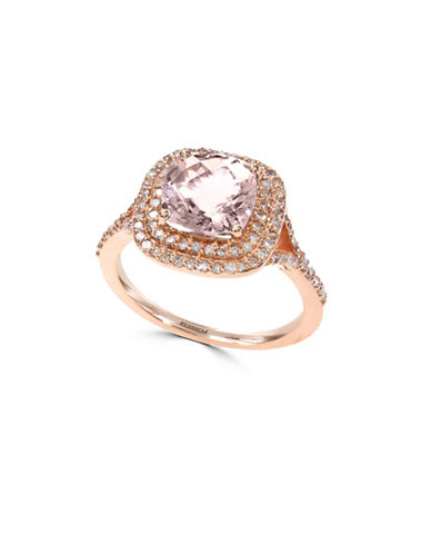 Effy 14K Rose Gold Morganite and 0.39TCW Diamond Ring-MORGANITE-7