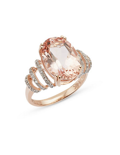 Effy 14K Rose Gold Morganite and Diamond Ring-PINK-7