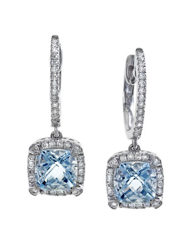 Effy 14K White Gold 0.26Ct. Diamond and 1.70ct. Aquamarine Earrings-BLUE-One Size