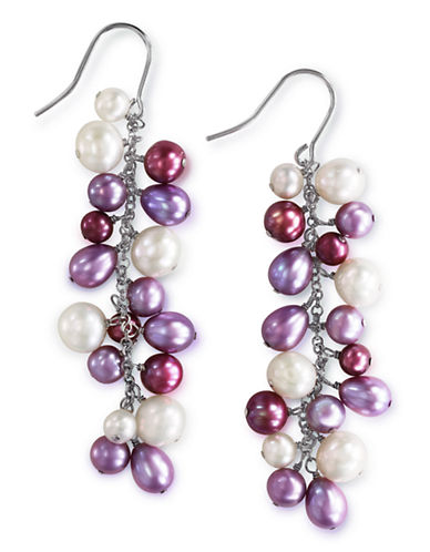 Effy Sterling Silver Multi  Coloured Pearl Earrings-MULTI COLOURED-One Size