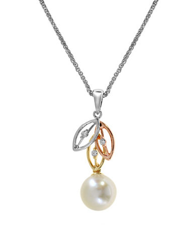 Effy 14K Rose-White-Yellow Gold 0.04ct. Diamond and 8mm Freshwater Pearl Pendant-TRI COLOUR-One Size