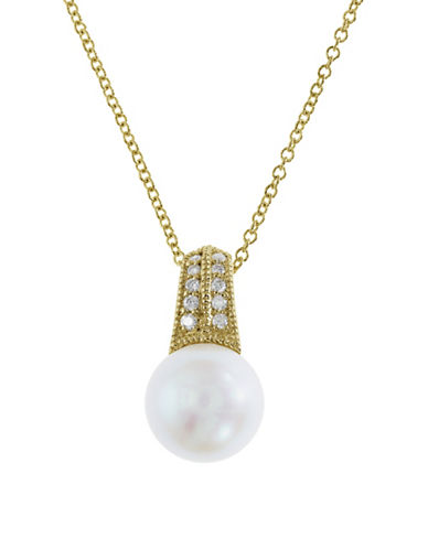 Effy 9MM Freshwater Pearl and Diamond 14K Gold Pendant Necklace-WHITE-One Size